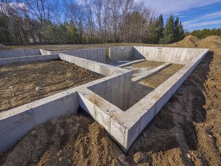 Betonnen fundering voor een nieuw huis