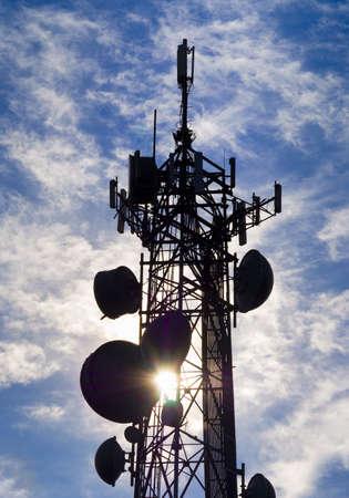 Telecommunications equipment - directional mobile phone antenna dishes. Wireless communication. Stock Photo - 17018801