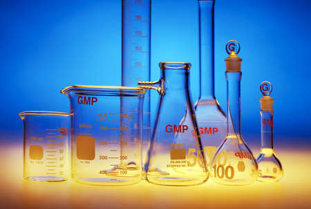 drug test: Test-tubes glassware used in chemistry and biology laboratories