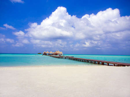 Beach, jetty and boat dock in the Maldives Stock Photo - 18279726
