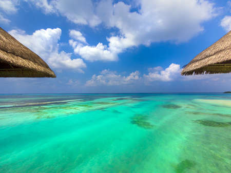 View of the aquamarine water of the Maldives from my bungalow Stock Photo - 18279068