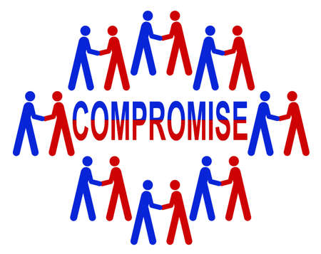 compromise: Compromise or deal done  Something we need in our government  Stock Photo