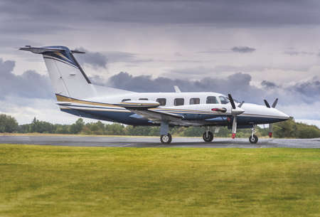 Private propeller plane parking at rural airport  Stock Photo - 18450815