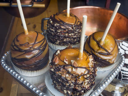 Candied caramel apples photo