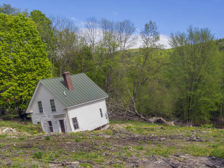 House destroyed in Vermont river flooding Stock Photo