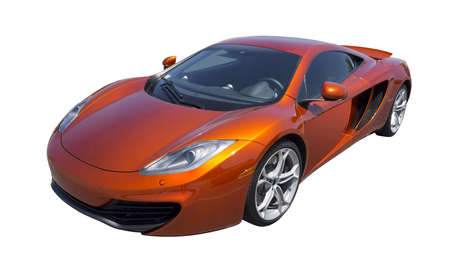 Sports car in orange, isolated