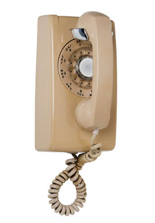 phone service: Old wall rotary phone, isolated Stock Photo