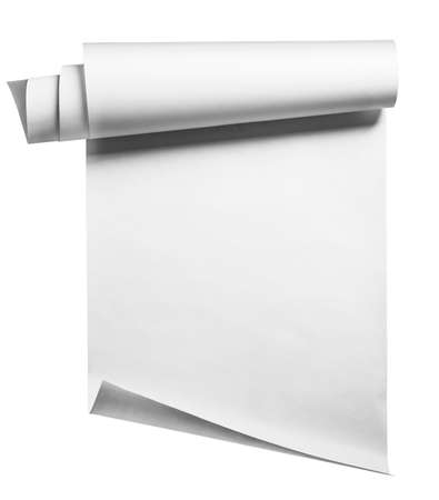 Paper roll on white, isolated with clipping path