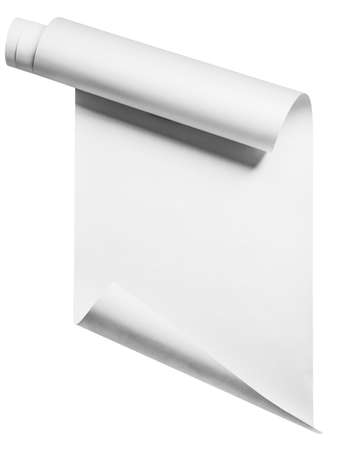 paper sheet: Paper roll on white, isolated with clipping path