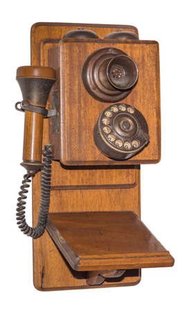 antique wooden telephone, isolated Stock Photo - 23291161