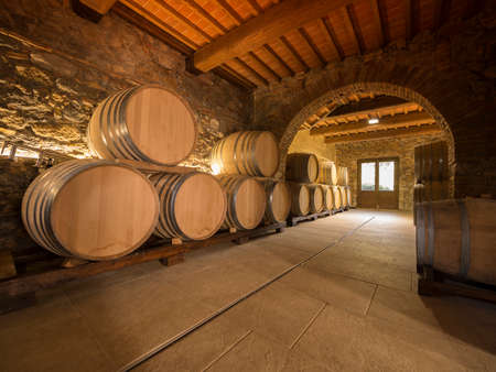 oak wine barrels stacked in a winery cellar Editorial