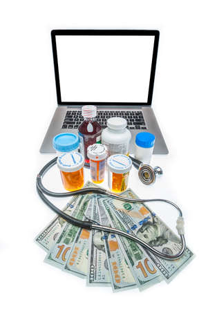 insertion: Health care costs illustrated by drugs and doctors with blank screen for type insertion