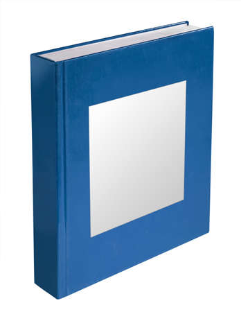 Blue book with white label ready for type, isolated on white with clipping path 版權商用圖片
