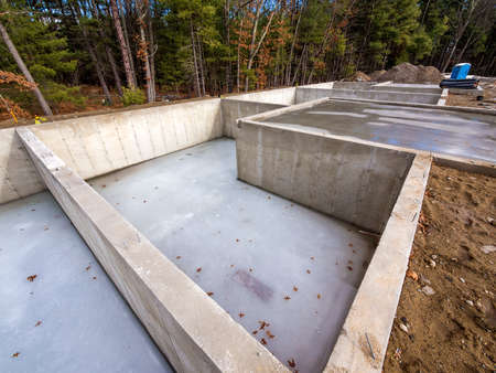 housing construction: Concrete foundation for new houses