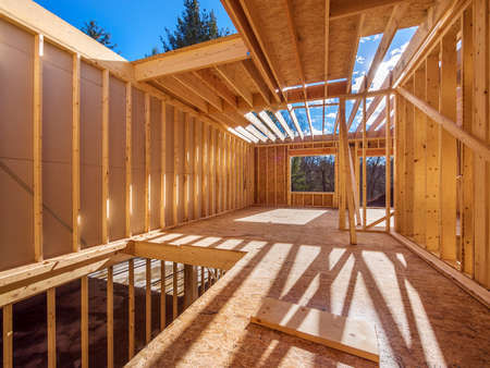 wooden beams: New framing construction of a  house