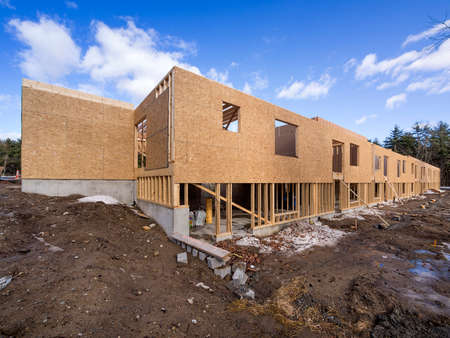 2x4 wood: New framing construction of a  house