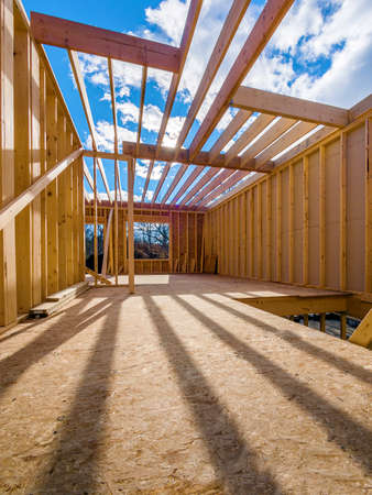 dwellings: New framing construction of a  house