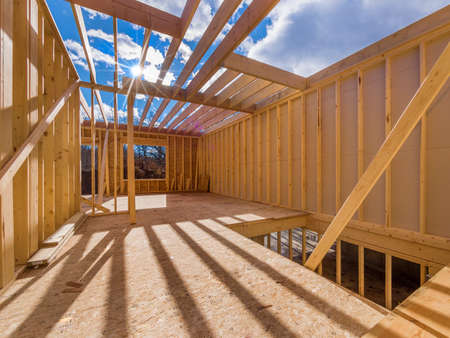 timber frame: Framed construction of a new house Stock Photo