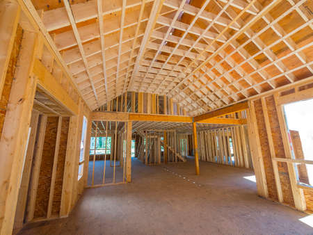 home construction: Interior framing of a new house construction