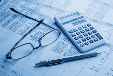 financial accounting concept. statement,calculations and taxes