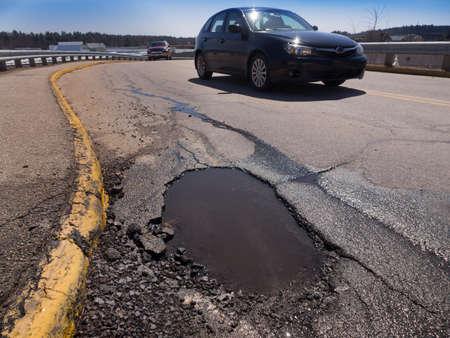 Pothole road damage