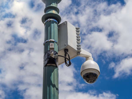 Security camera on lamp post in downtown Boston photo