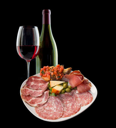 cheese platter: Italian antipasto and wine
