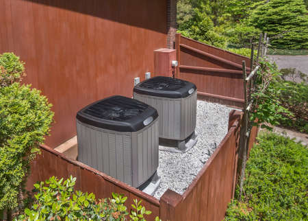 residential homes: HVAC units Stock Photo