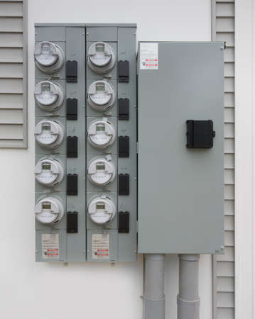 electric utility: residential digital electricity meters Stock Photo