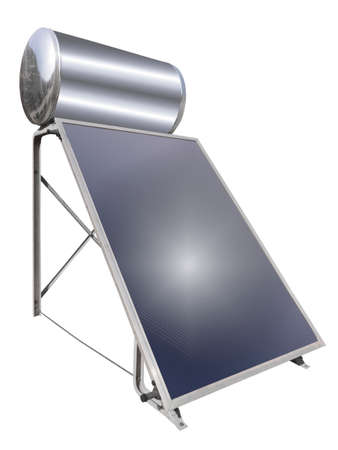 Solar water heater, isolated photo
