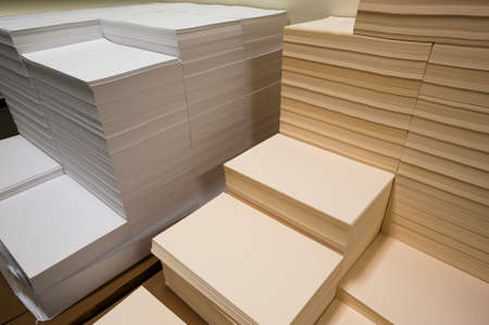 Stacks of paper on a printing plant floor