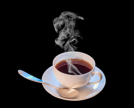 Hot cup of coffee with spoon on black background
