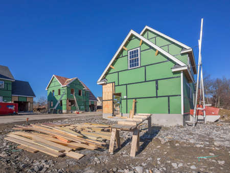 construction nails: A single family home under construction