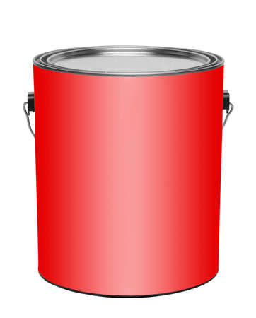 paint tin: Red metal gallon paint can, isolated