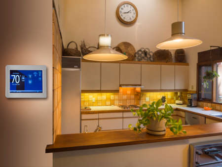 heat home: Programmable thermostat for temperature control in kitchen