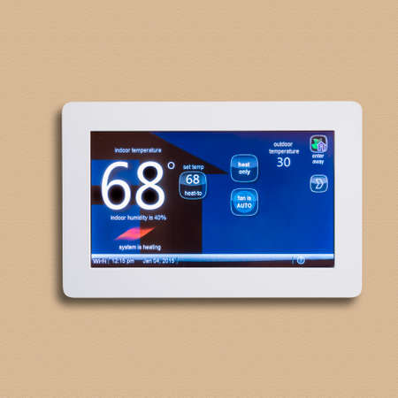 programmable: Programmable thermostat for temperature control, isolated Stock Photo