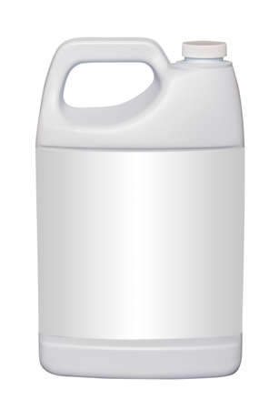 Gallon plastic jug, isolated with empty label