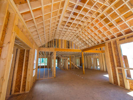 timber frame: interior framing of a new house under construction