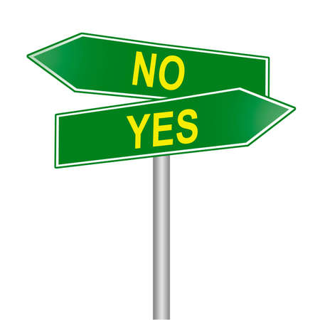 Yes and no street signs, isolated