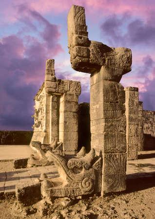 colonade: Chichen Itza temple pyramid, Mexico