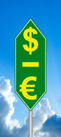 hegemony: Dollar is up, the Euro down sign