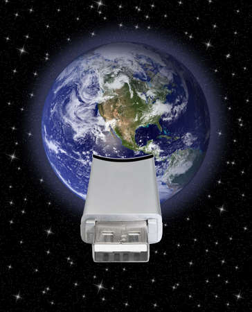 transference: earth globe with usb connection