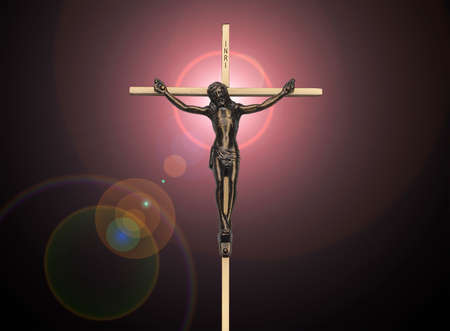 black jesus: Jesus Christ passion on the cross on black with pink lens flare Stock Photo