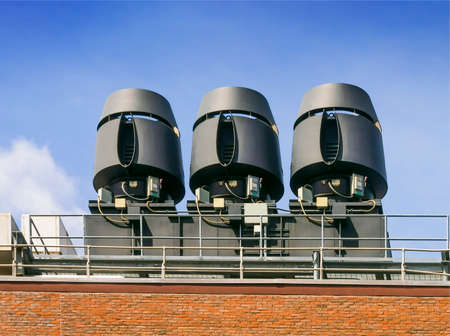 industrial noise: Air exhaust systems to remove fumes in laboratories Stock Photo