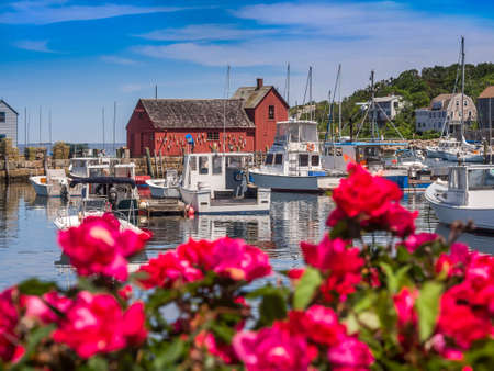 New England fishing village of Rockport MA. USA Banco de Imagens