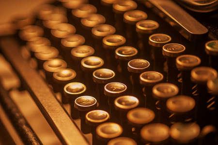 Antique typewriter keys close up, selective focus