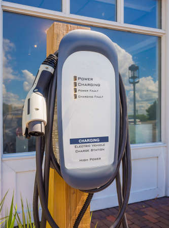 electric station: Front view of an electric car charging station.