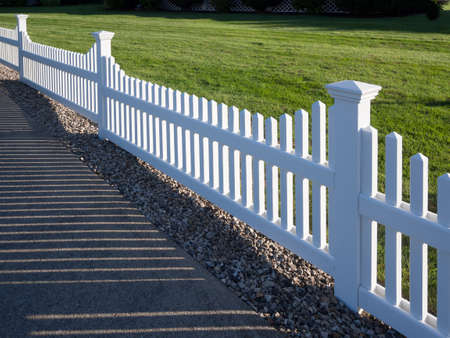 white picket fence: White picket fence Stock Photo