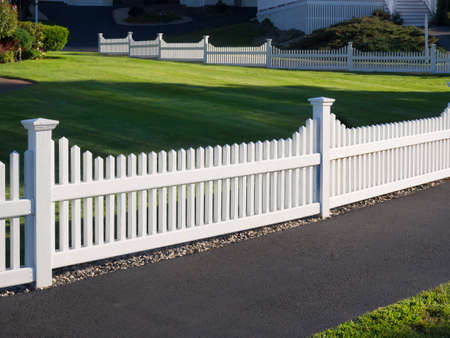 picket: White picket fence Stock Photo