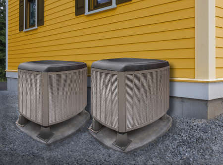 HVAC heating and air conditioning residential units Archivio Fotografico
